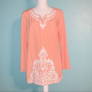 Lilly Pulitzer Peach Orange Embroidered Tunic Top
